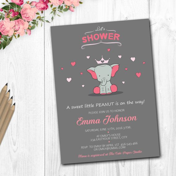 Baby Shower Invitation girl Elephant baby by TheCutePaperStudio Baby Shower Invitations For Girls