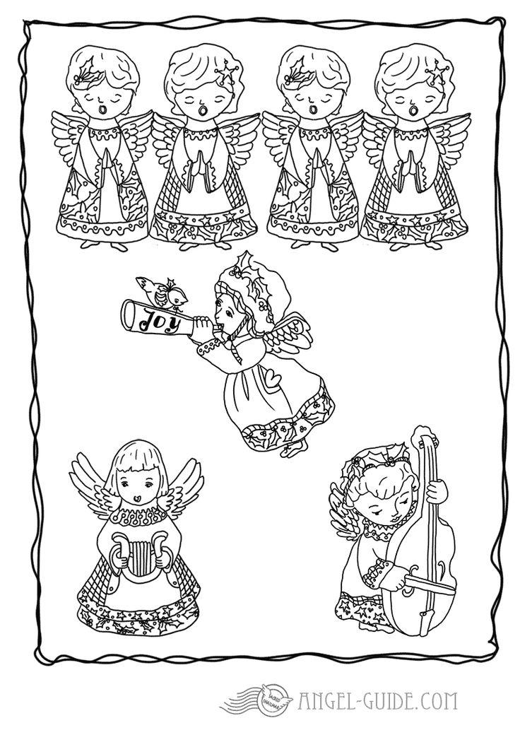 Angel Christmas Coloring Pages of Choir of Angels 13 a whole choir of angels and all the Angel with Harp Picture , Angel with Trumpet Picture, Angel with Strings Picture, Choir of Angels Picture to Color , what a heavenly sound that must be kostenlose Malvorlagen mit Engeln, Weihnachtsausmalbilder fuer Kinder zum Herunterladen Ausmalbild mit Engel zum Weihnachtsbasteln, Bastelvorlage, Engel Vorlage zum ausdrucken