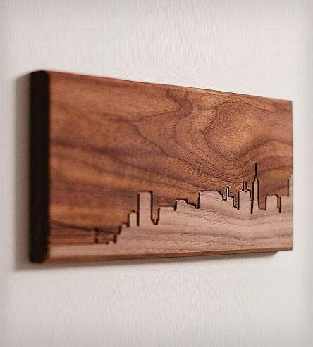 San Francisco Skyline Wood Art By Dave Marcoullier. Routed in solid walnut. Simplistic yet beautiful