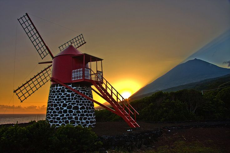 Windmill in Pico, Azores, Portugal  PDS no Pico