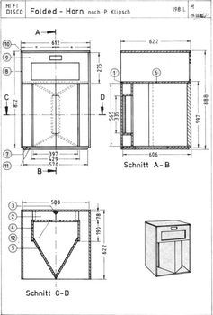 Bucket Load of owners manuals here.  Klipsch Folded horn schematic.