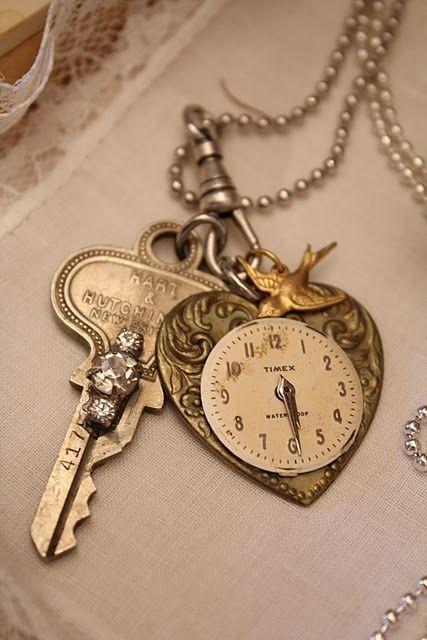 Clock Hourglass Time:  Heart #Watch Pendant ~ Ana Rosa.