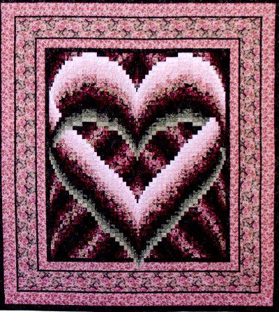 "Melinda's Heart  Easy strip construction! This beautiful quilt would make a great wedding gift. 83"" x 92""."