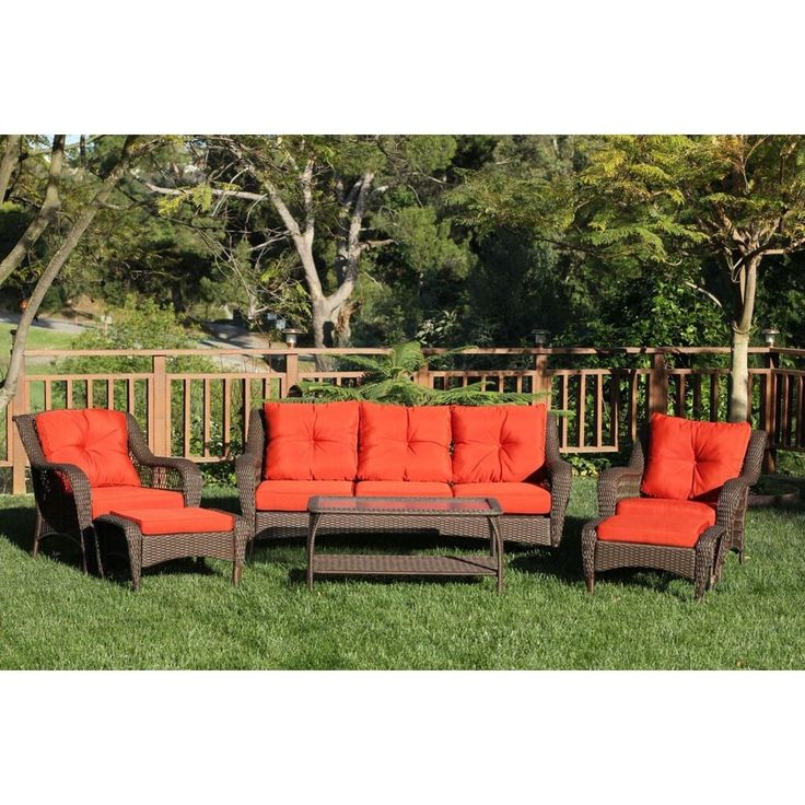 6-Piece Espresso Resin Wicker Outdoor Patio Seating Furniture Set - Red-Orange Cushions, Brown, Patio Furniture