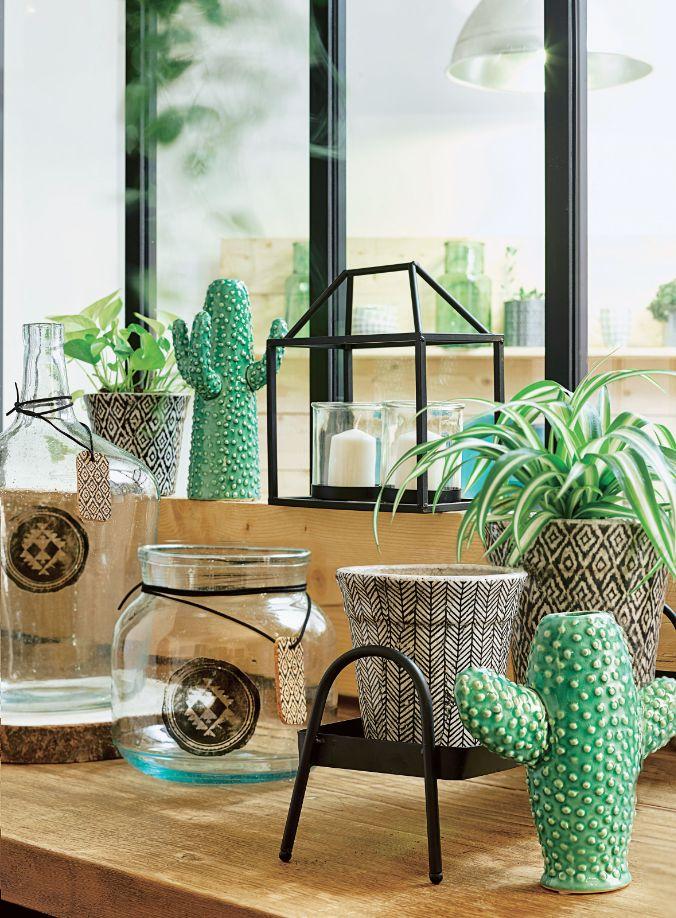 Cactus décoratif en céramique vert l 20 x 75 x h 20 cm jardinerie truffautles printempspoteriecactus déco maison