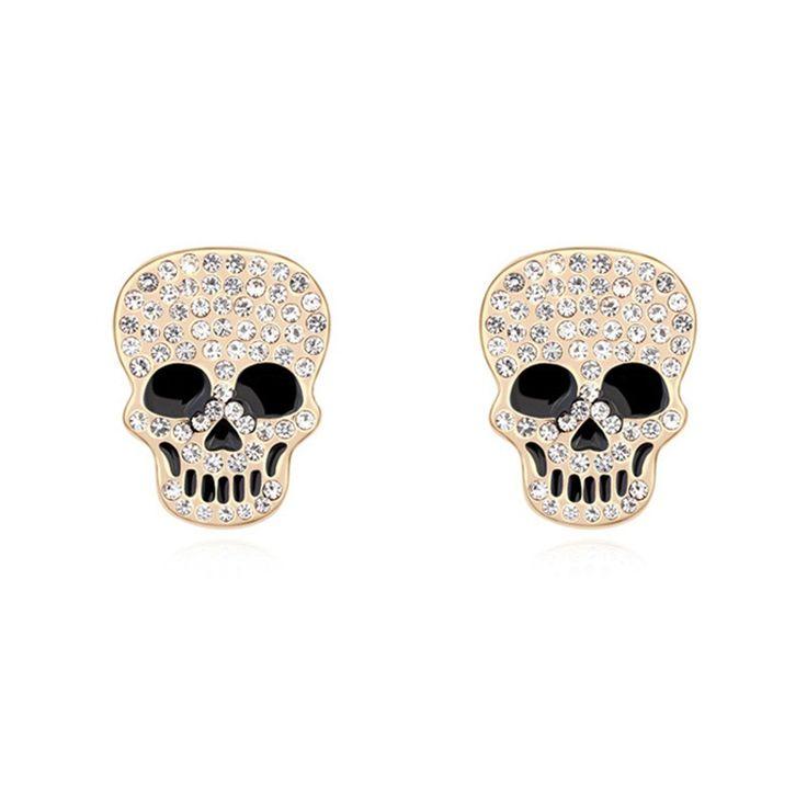 Austrian Crystal Stud Earrings - Skull Heads