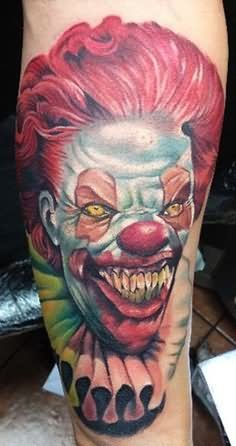 They All Float Evil Clown Tattoo On Thigh