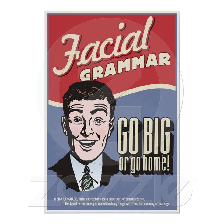 Facial Grammar. An ASL classroom poster. from Zazzle.com