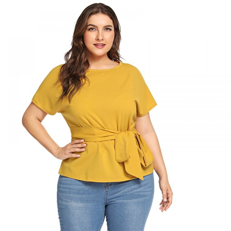 Casual Waist Bow Belted Plus Size Women's Blouse 11