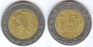 1992 Mexican Peso $5. Google Image Result for http://cointypes.info/mexico/mex5p2001.jpg