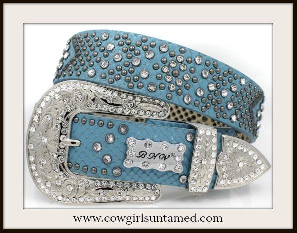 HIGH QUALITY COWGIRL BELT Beautiful Blue Rhinestone Studded Leather Belt  #belt #cowgirl #blue #silver #rhinestone #crystal #studded #western #rodeo #barrelracing #studded #beautiful #BHW #wholesale #boutique #fashion #onlineshopping #style