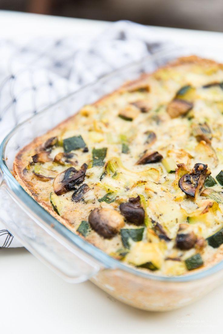 LCHF - Low Carb, Paj med zucchini- och svamp (Glutenfri, Lågkolhydrat)