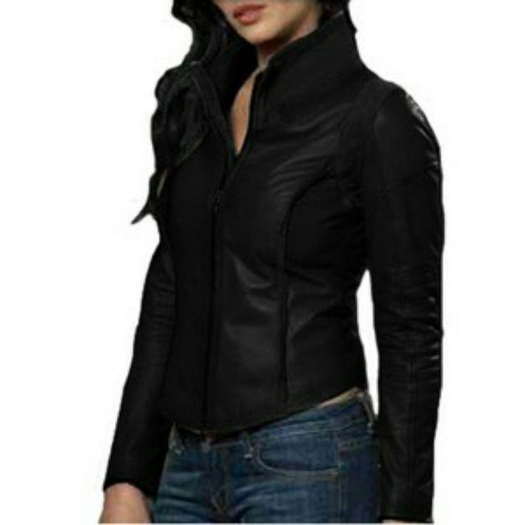 Jaket Semi Kulit Wanita Simpel black sm001