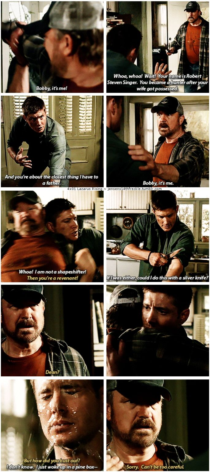 "4x01 Lazarus Rising [gifset] - ""I'm not a demon either, you know."" - Bobby Singer, Dean Winchester, Supernatural"