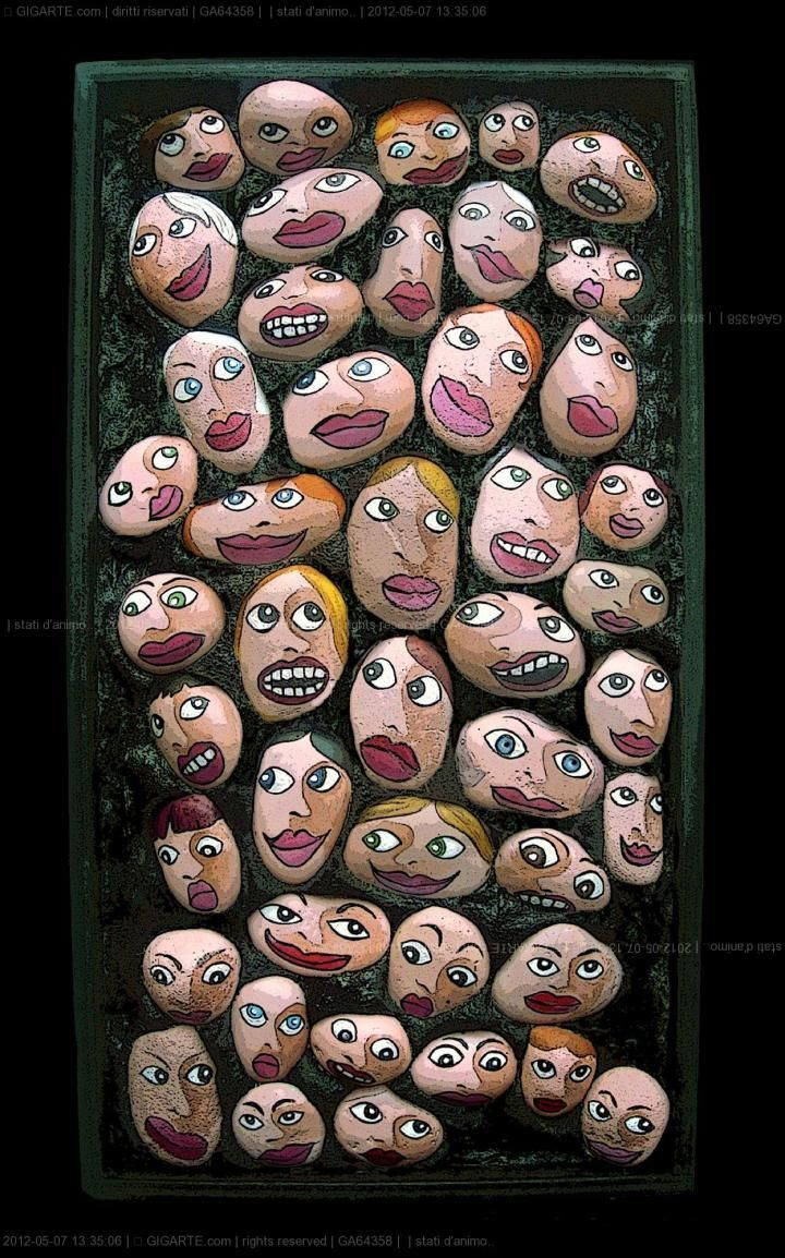 Michela Bufalini - stati danimo.. @Gigarte.com Trans: 'Moods' These are painted stones but I imagine them as little puffy fabric faces reflecting all sorts of emotions to identify with.