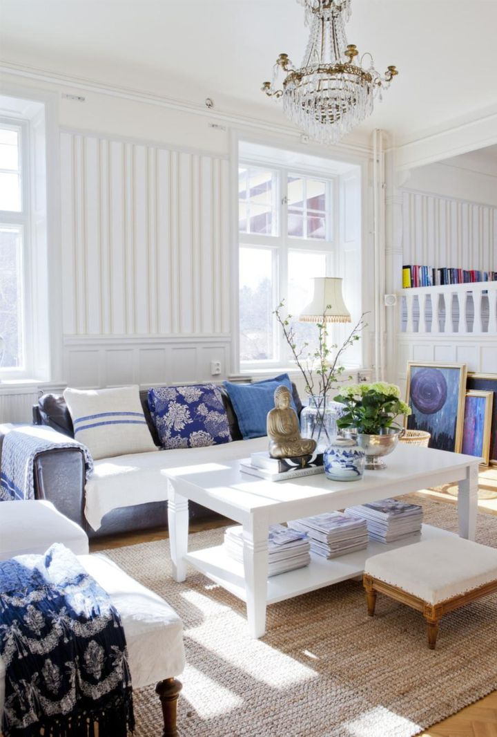 White and Blue in a Scandinavian House | 79 Ideas