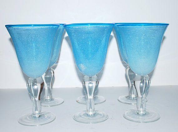 Blue glass goblets large wine glasses   vintage stemware hand