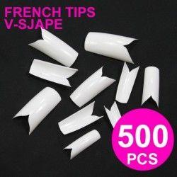 500db hosszú műköröm V alak francia manikűr sablon