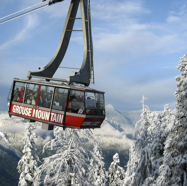 Ride the Gondola to Grouse Mt, North Vancouver, BC.,it is great for Skiing, Snow Boarding, Snow shoeing and site seeing.