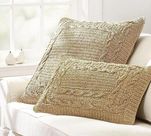 Вязаные подушки спицами фо..