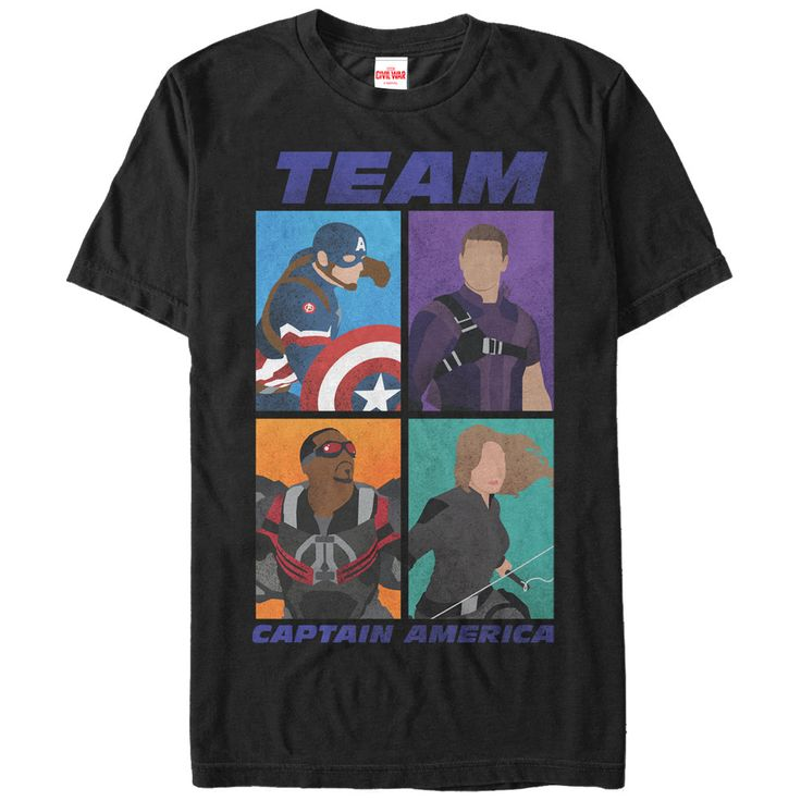 """Show your support for Captain America with the Marvel Team Captain America Boxes Black T-Shirt! Join your favorite superhero team with this awesome black Captain America shirt that reads """"Team Captain"""