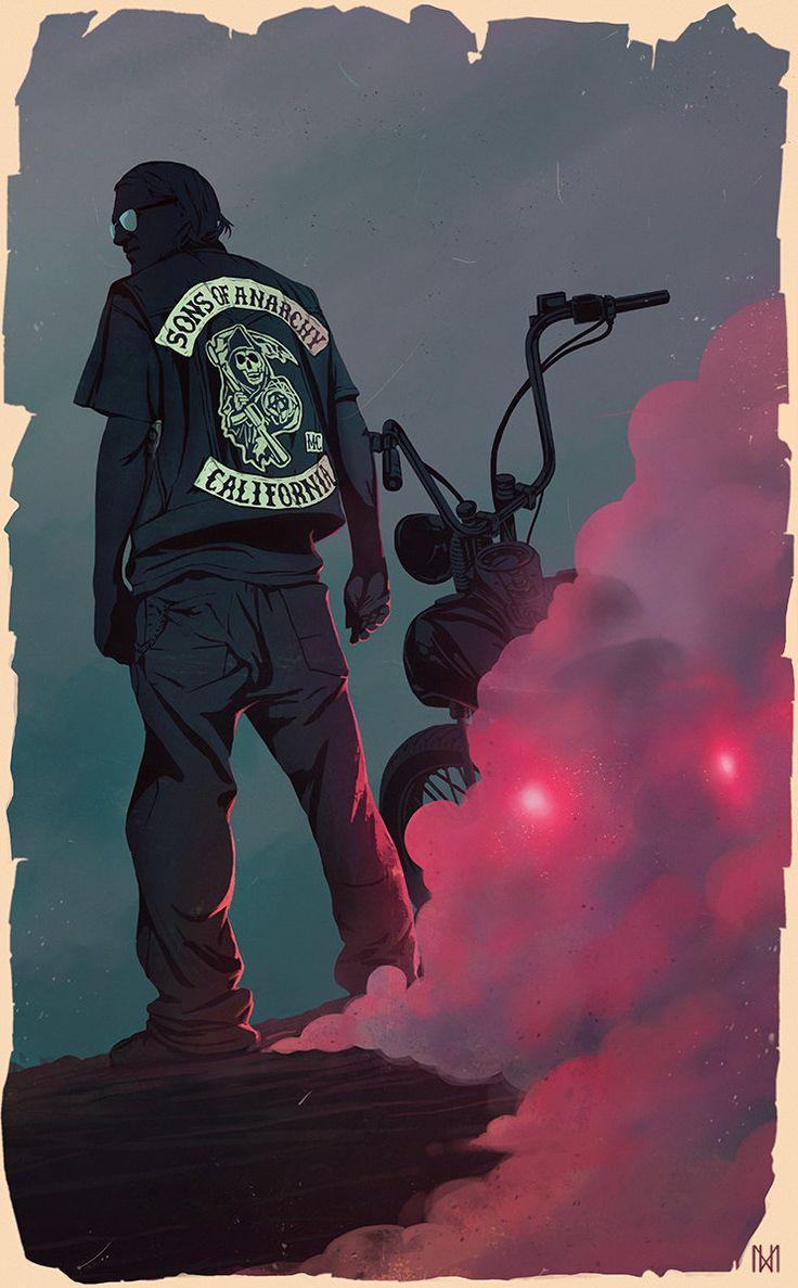 Sons of Anarchy poster art, Nagy Norbert on ArtStation at https://artstation.com/artwork/sons-of-anarchy-poster-art