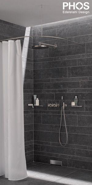 DUSCHVORHANGSTANGE DS B 300-800 Bastone per tenda doccia di design PHOS Design ✓ Tutte le Informazioni ✓ Immagini ad alta risoluzione ✓ CAD ✓..