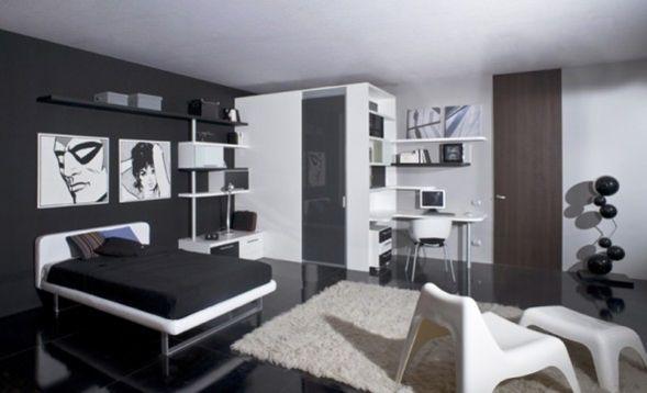 Te muestro algunas ideas para la decoración de habitaciones y dormitorios juveniles de estilo moderno y minimalista en colores elegantes blanco y negro.