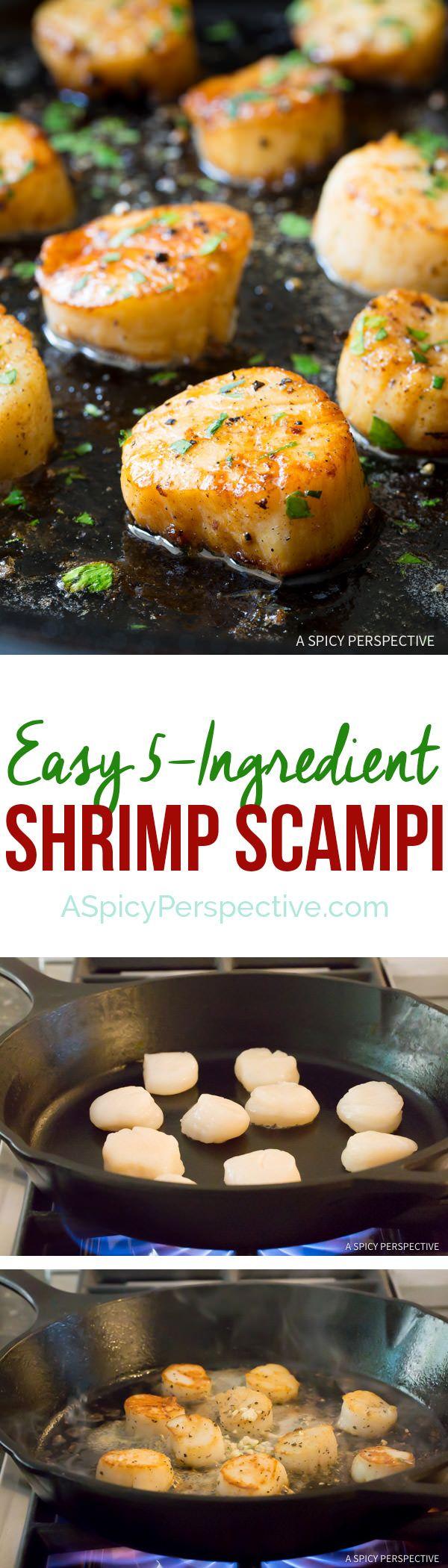 Healthy 5-Ingredient Easy Scallop Scampi Recipe | ASpicyPerspective.com
