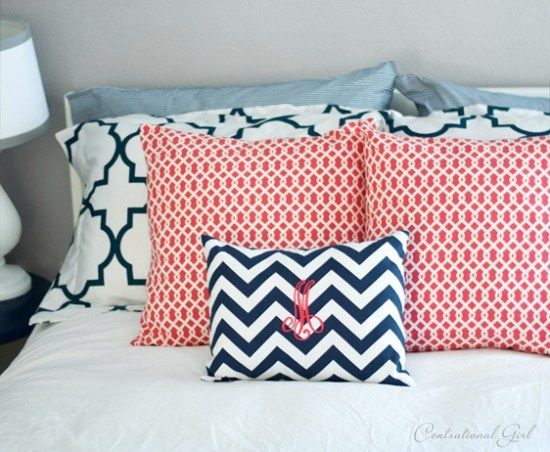 Guest Room  Coral And Navy Accents Cg Hall Bath Colors   Gray Walls With  Blue And Coral/raspberry Accessories Part 26