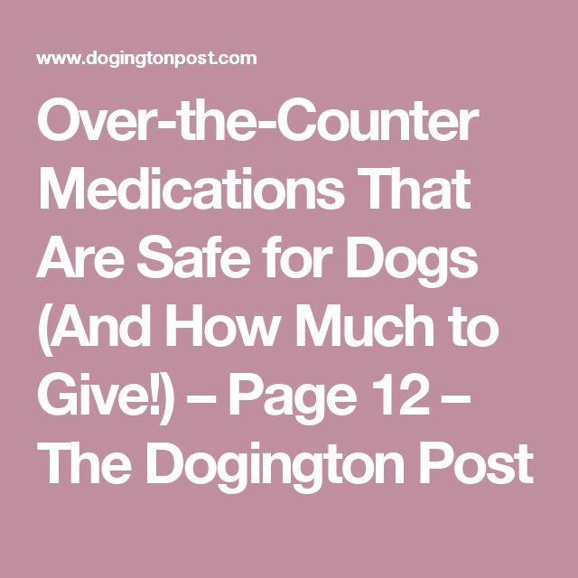 Over-the-Counter Medications That Are Safe for Dogs (And How Much to Give!) – Page 12 – The Dogington Post