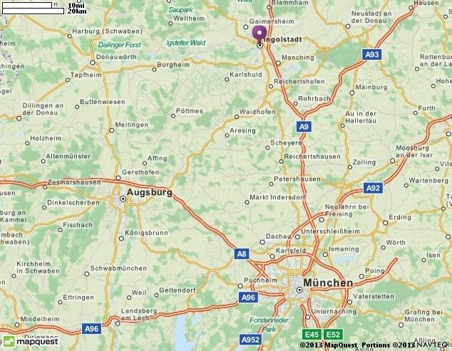Map of Ingolstadt, Germany |