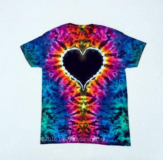 Rainbow and Black Heart Tie Dye Shirt