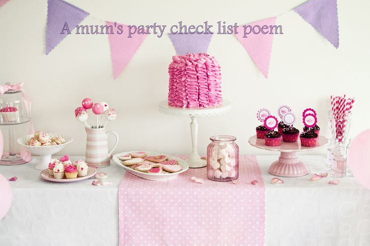 A poem about party checklists for mums
