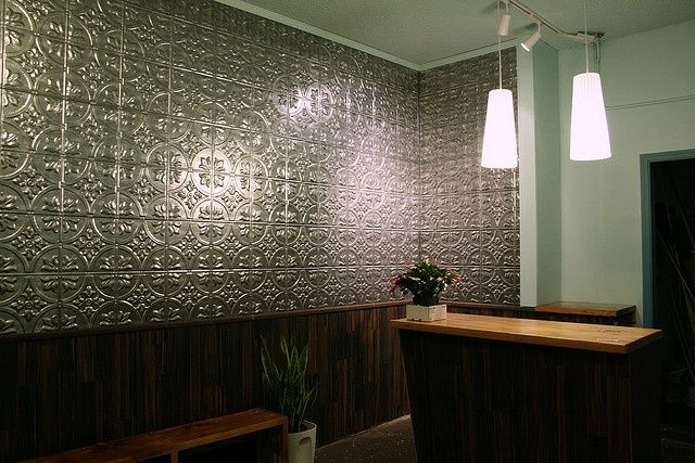 tin ceiling tiles on bathroom wall  google search  faux