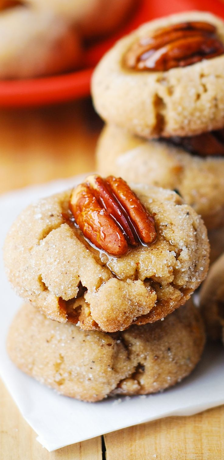 Browned Butter Pecan Sandies – AMAZING and CUTE cookies rolled in granulated sugar and individually topped with pecan halves! Browning the butter makes them delicious. You can also brush the pecans with maple syrup!