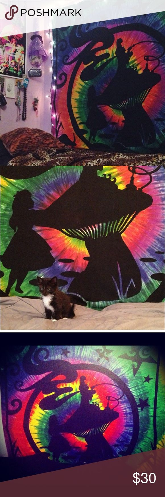 Alice in wonderland tie dye tapestry/trippy Alice in Wonderland Tie Dye Tapestry,   it covers my entire bedroom wall. Accessories
