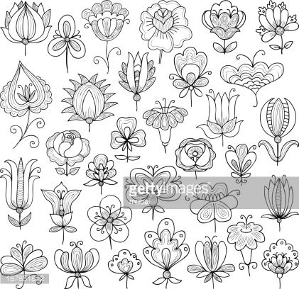 Vector image of the set of various flowers doodle.