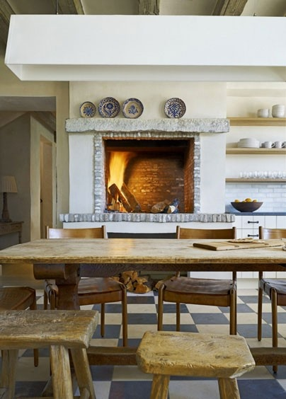 A big wooden table and a fire in the kitchen...perfect.