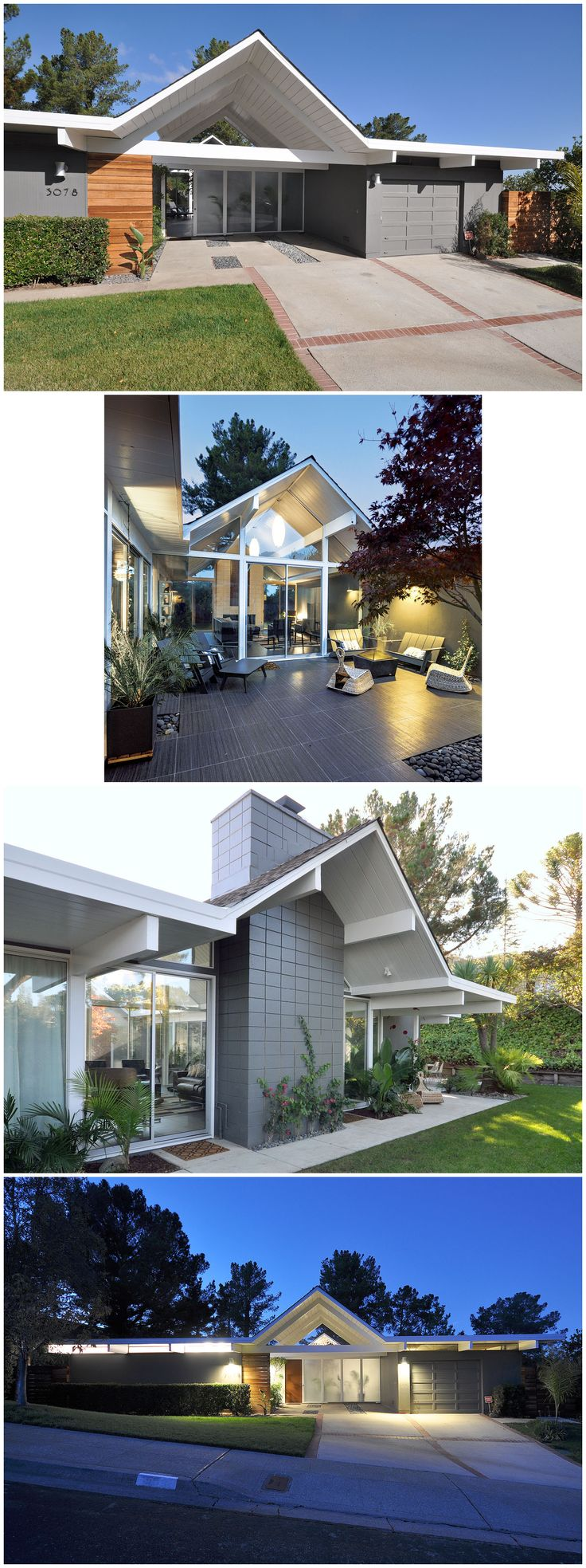 2015 best remodel award goes to San Francisco architect John Klopf; home originally built by Joseph Eichler in 1964. The double-gable home, with a carport placed under the front gable, was a popular Eichler design. Located just inside the front door, is an open atrium with seating, shade and a firepit. The lines of the double-gable design are especially dramatic at night, when the narrow windows set high in street-facing walls create a bold horizontal line across the entire front of the…