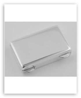 Classic Heavy Sterling Silver Rectangular Shaped Pillbox -Made in USA