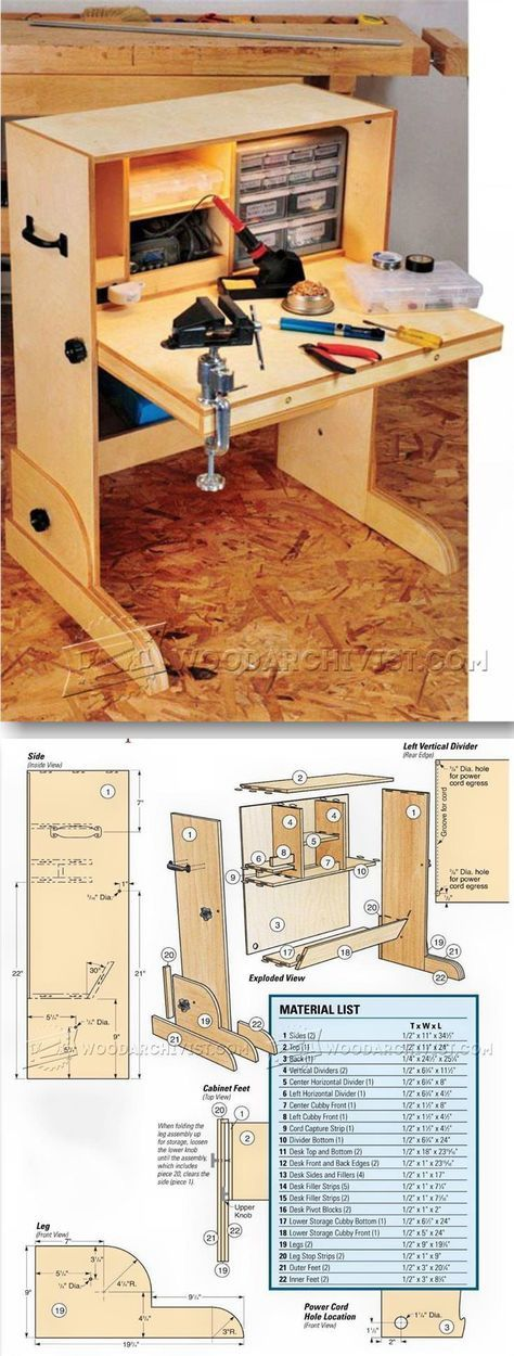 Hobby Desk Plans - Workshop Solutions Projects, Tips and Tricks   WoodArchivist.com
