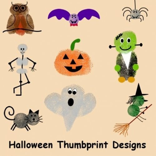 Halloween Thumbprint Crafts - note: don't follow the link, just look at the ideas