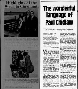 The Wonderful language of Paul Chidlaw, part 1