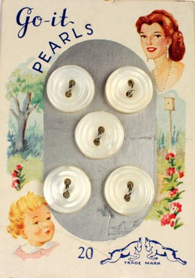 """(::)  """"Go-It"""" (goat) trademark.  Vintage Iowa button factory pearl buttons"""