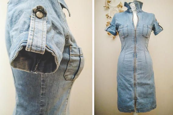 NOW 50% OFF TILL 01 DEC #Vintage #80s Zip Front #Jeans #Denim Pencil #Mini #Dress #fashion #etsy #fashionblogger #look #forsale #shopping #sale