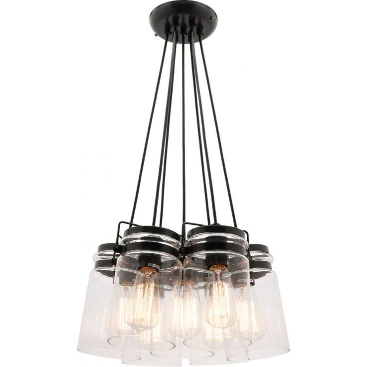 Prague 7Lt Glass Pendant Light (E27), Matte Grey