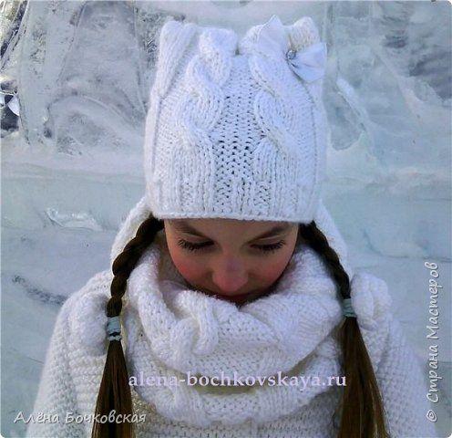 Моя первая шапочка и снуд спицами. А также первая работа косами. Раньше казалось, что это очень сложно, а оказалось очень легко и интересно! Описание шапочки и снуда здесь http://alena-bochkovskaya.ru/?p=2902#more-2902
