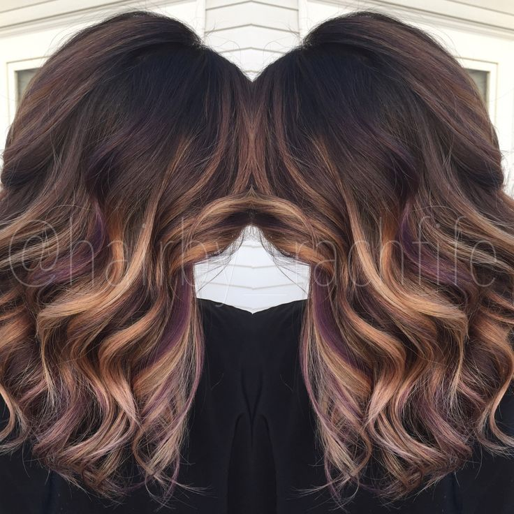 Colormelt balayage ombre with purple peekaboo highlights. Hair by Rachel Fife @ SF Salon