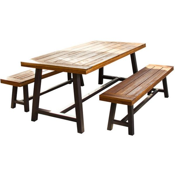 Edison Rustic Metal 3 Piece Dining Set Reviews Liked On Polyvore Featuring Home Outdoors Patio Furniture Outdoor Sets